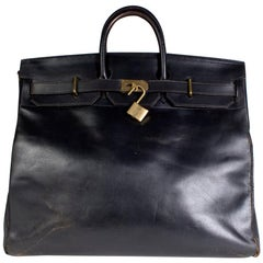 Hermes Black Leather HAC Bag, 1972