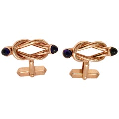 """Vintage Gold & Sapphire Blue Cabochon """"Lovers Knot"""" Cufflinks By, Swank"""