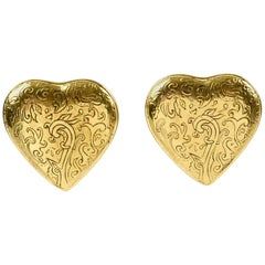 Yves Saint Laurent Paris Signed clip on Earrings Gilt Metal Heart