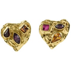 Yves Saint Laurent Paris Signed clip on Earrings Gilt Metal Heart and Rhinestone