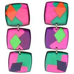 Italian Pop Art Dangling Lucite Pierced Earrings Multicolor Harlequin Pattern
