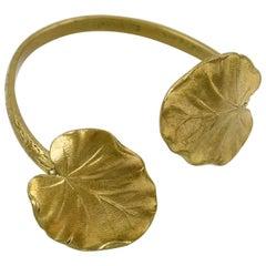French Mid Century Modernist Gilded Brass Cuff Bracelet Floral Pattern