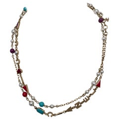 New Chanel Pearl Necklace with multi colored stones 2017P