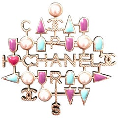 New Chanel Pearl and Multi colored stones Brooch/ Pin