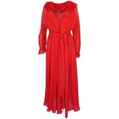 c.1974 Halston Bias Cut Red Silk Chiffon Ruffle Collar & Cuff Dress