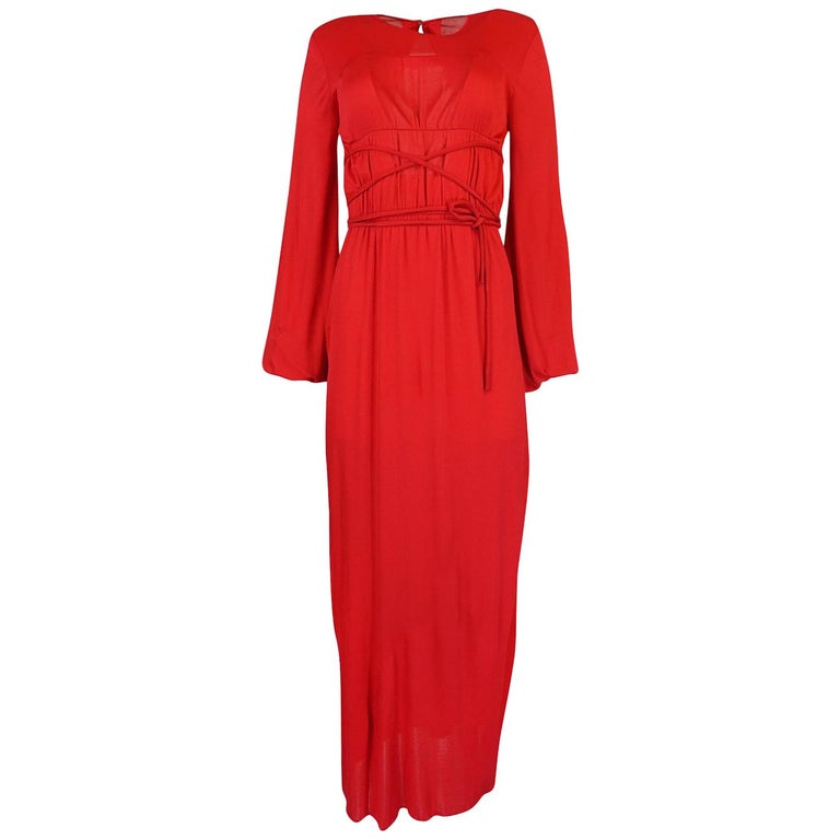 c.1973 Bill Blass Red Wrapped Tie Full Length Jersey Dress