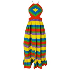 Oscar de la Renta Rainbow Striped Backless Halter Dress, 1960s