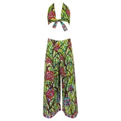 Pucci Rare Printed Cotton Halter Top and Wide Leg Pant Set, 1960s