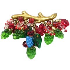 Vintage French Deco 1930s Dangling Fruit Glass Brooch