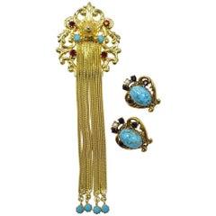 """Vintage 4 ¾"""" Long Tassels Brooch & Signed Florenza Earrings"""