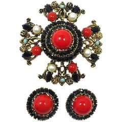 Vintage Signed Karu Arke Red Cabochons & Faux Pearls Brooch/Pendant & Earrings