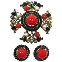 Vintage Signed Karu Arke Red Cabochons & Faux Pearls Brooch/Pendant & Earrings