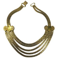 Vintage Deco 5-Strand Gold Tone Necklace