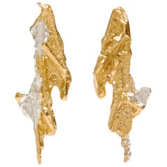 Loveness Lee Aria Small Gold and Silver Dangle Drop Textured Earrings