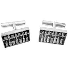 Vintage Sterling Silver Abacus Cufflinks