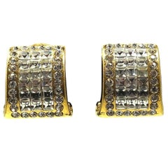Vintage Signed Jarin Clear Rhinestone Earrings