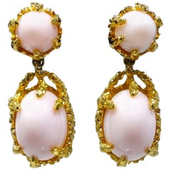 Vintage Signed Panetta Faux Angel Coral Drop Earrings