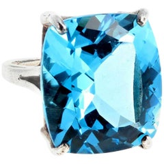 30 Carat Topaz Sterling Silver Ring