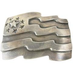 Vintage 1930's Sterling Silver Large Flag Belt Buckle