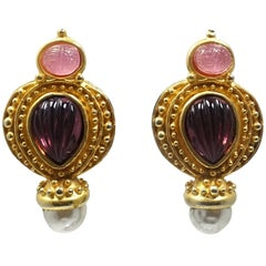 Vintage Pink Scarab, Faux Pearl, Amethyst Stone Earrings