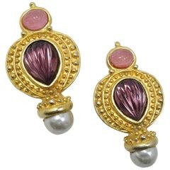Vintage Pink Scarab, Faux Pearl, Amethyst Stone Earrings