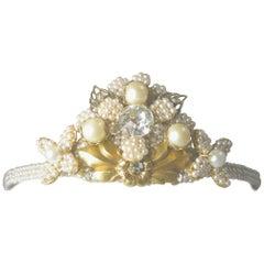Rare Vintage Miriam Haskell Faux Pearl Tiara/Headband