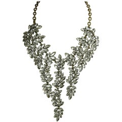 Vintage Kenneth Jay Lane Marquis Crystal Bib Necklace