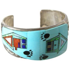 Vintage Zuni Sterling Silver Inlaid Turquoise Paw Cuff