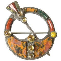 Vintage Rare 1880's Sterling Silver Citrine And Agate Brooch