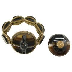 Vintage Victorian Rare Scottish Banded Agate Bracelet & Pin Set