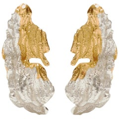 Loveness Lee Anani Small Gold and Silver Dangle Drop Textured Earrings