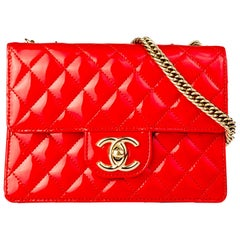 Chanel Bright Red Micro Mini Patent Leather Classic Flap Bag