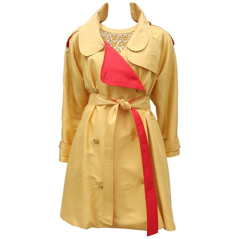 1980's Yellow & Red Shantung Silk Sequin Dress & Trench Coat Set For Sale