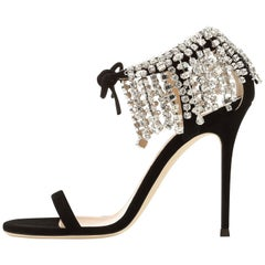 Giuseppe Zanotti Black Crystal Slide in Mules Sandals Heels
