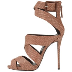 Giuseppe Zanotti New Python Embossed Leather Nude Cognac Strappy Heels