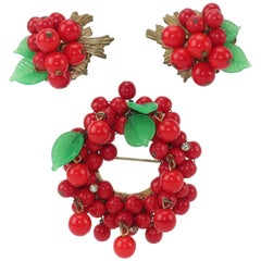 C.1950 Miriam Haskell Red Glass Bead Berries Brooch & Earrings Set
