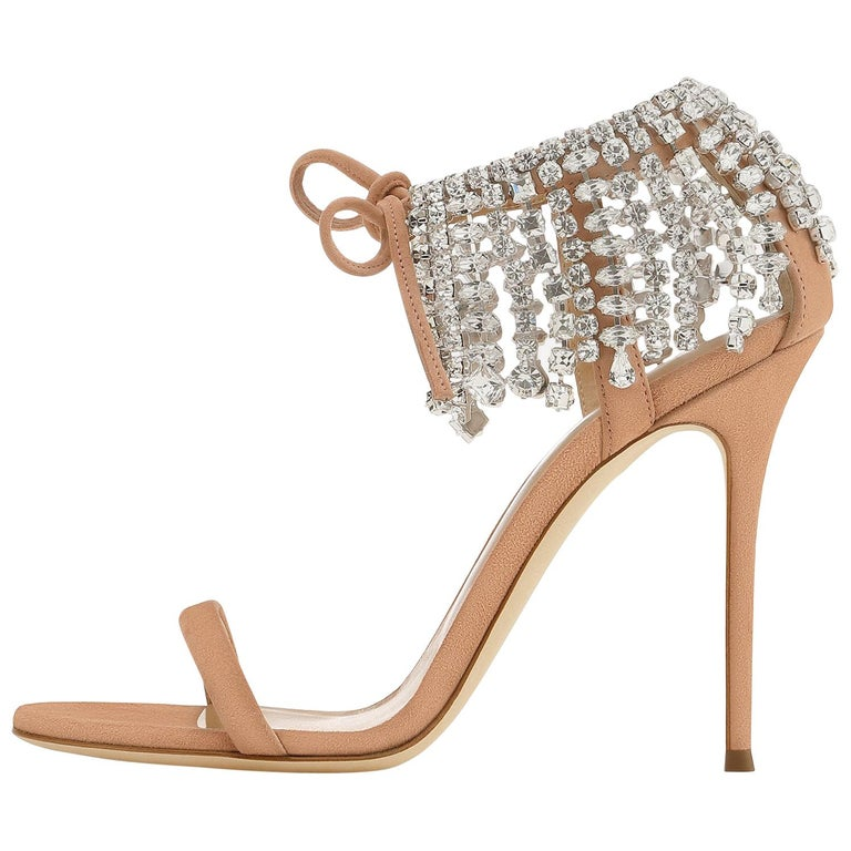 Giuseppe Zanotti Nude Blush Crystal Slide in Mules Sandals Heels  For Sale