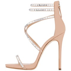 Giuseppe Zanotti Nude Blush Suede Crystal WrapAround Ankle Heels