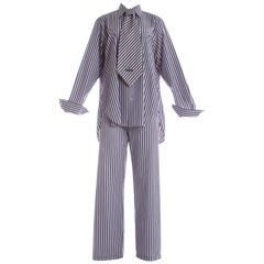 Vivienne Westwood unisex striped cotton shirt, pants and tie ensemble, S/S 1999