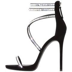 Giuseppe Zanotti Black Suede Crystal WrapAround Ankle Heels