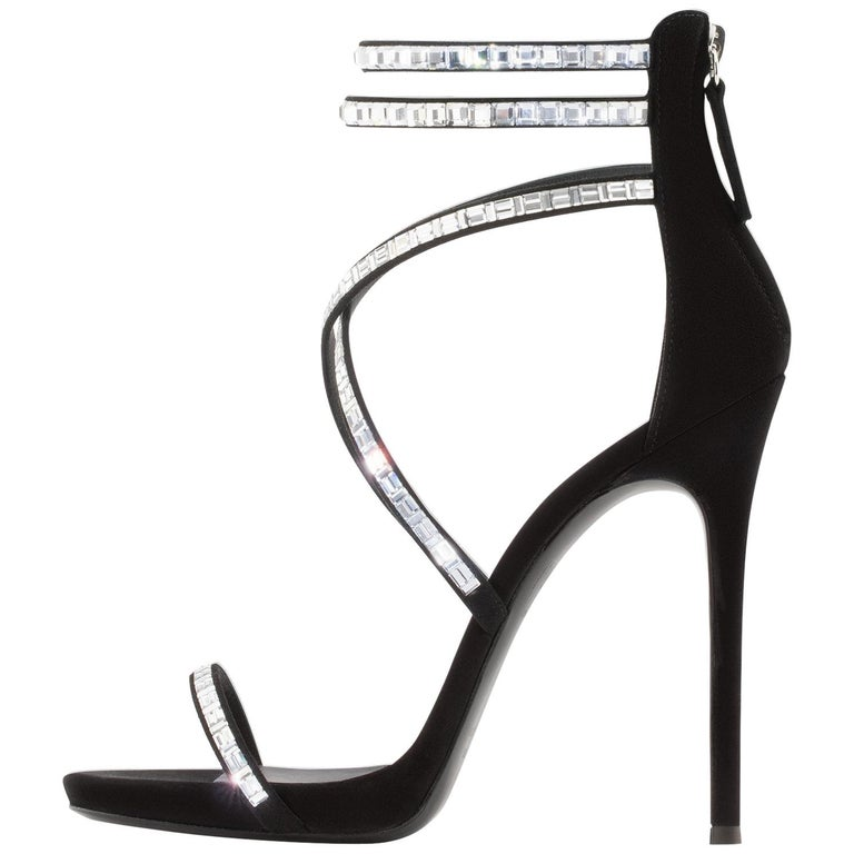 3649d943eac17 Giuseppe Zanotti Black Suede Crystal WrapAround Ankle Heels For Sale ...