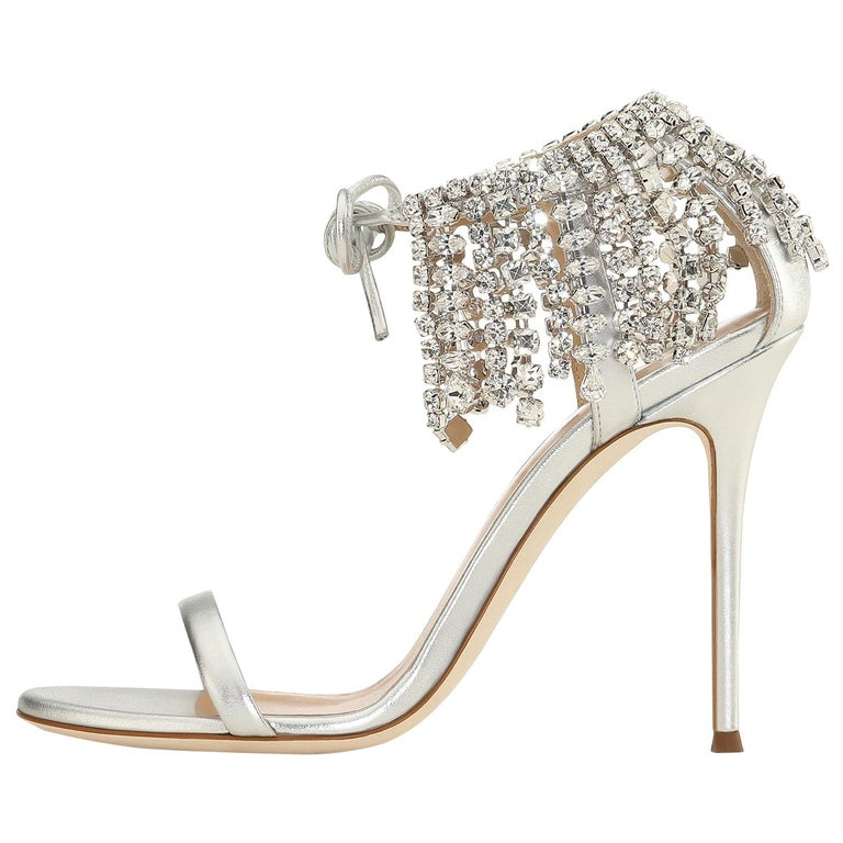 Giuseppe Zanotti Silver Crystal Evening Tie Sandals Heels   For Sale