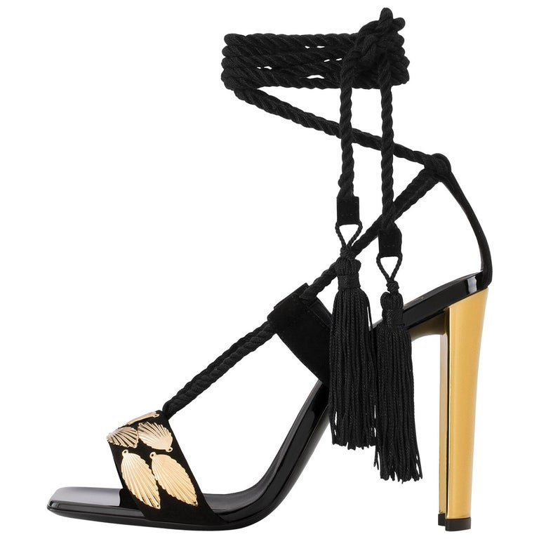 Giuseppe Zanotti Black Suede Gold Mirror Tie Up Ankle Evening Sandals