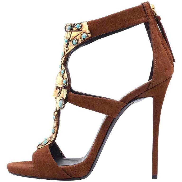 Giuseppe Zanotti Brown Suede Gold Tribal Evening Heels Sandals
