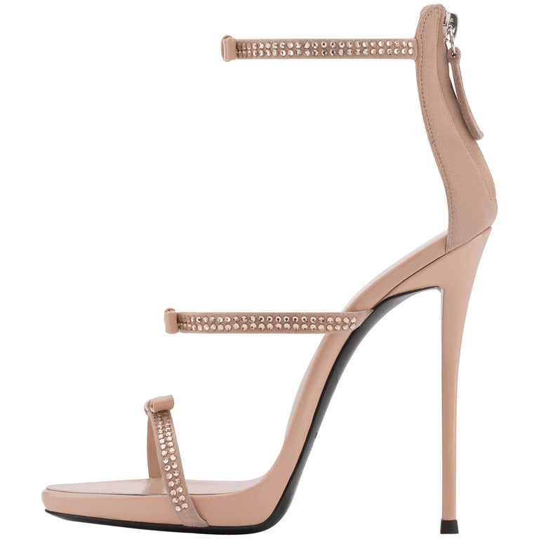Giuseppe Zanotti Nude Blush Suede Crystal Evening Sandals Heels
