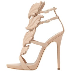 Giuseppe Zanotti Nude Blush Suede Patent Evening Sandals Heels