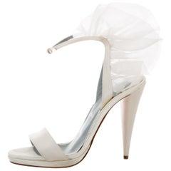 Christian Louboutin White Satin Chiffon Ruffle Evening Sandals Heels