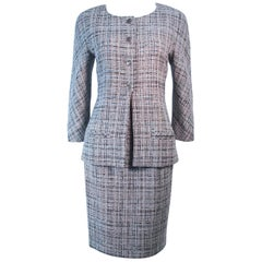 CHANEL Grey & Boucle Skirt Suit Size 42