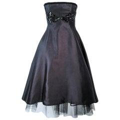 ELIZABETH MASON COUTURE Custom Vintage Black Silk Cocktail Dress Embellished