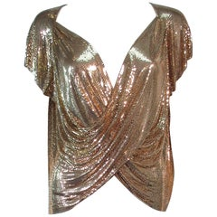 WHITING AND DAVIS Gold Metal Plunge Drape Blouse M